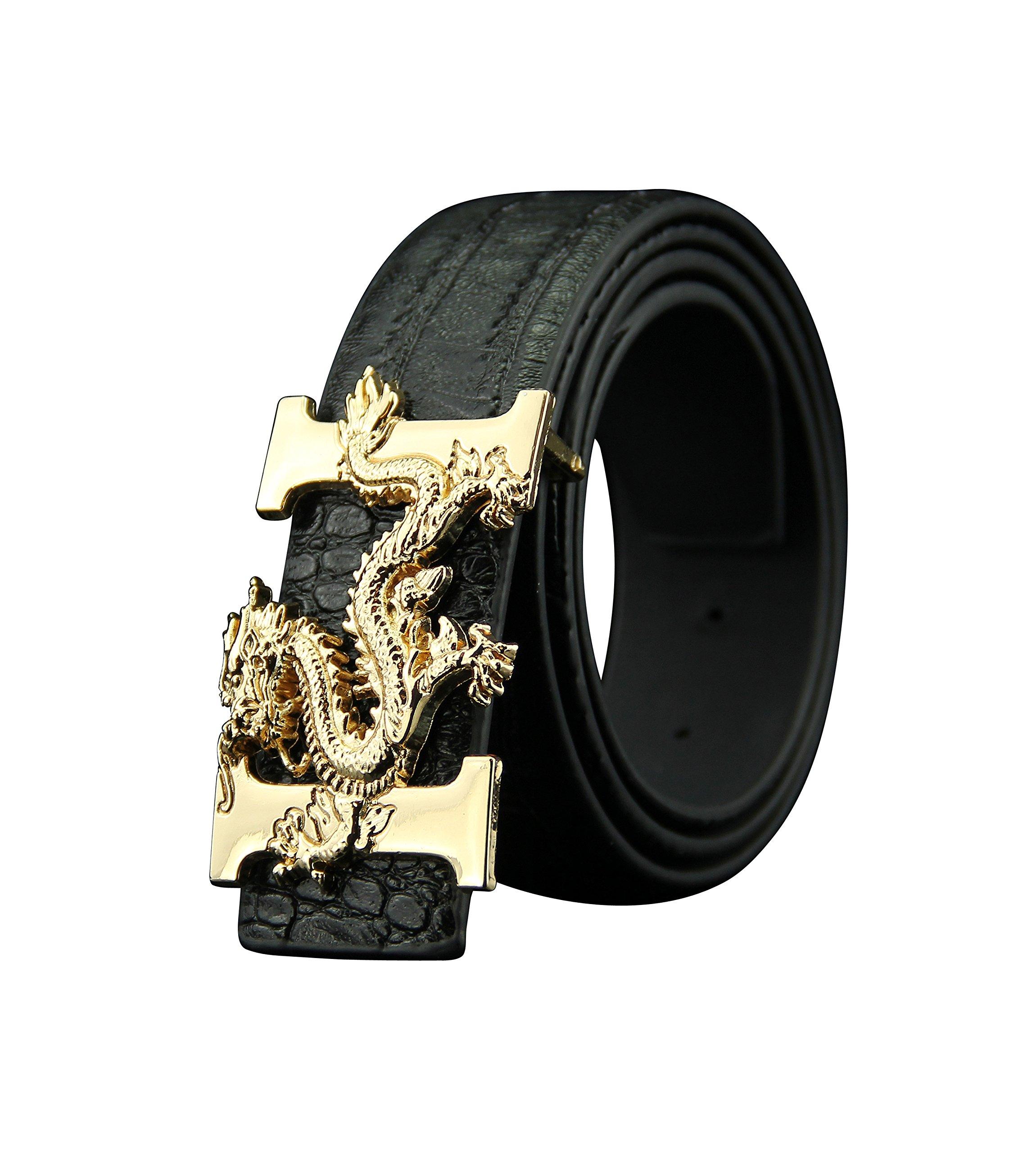 ALAKA Letter H Dragon Buckle Alligator Pattern Leather Mens Belt (Black)