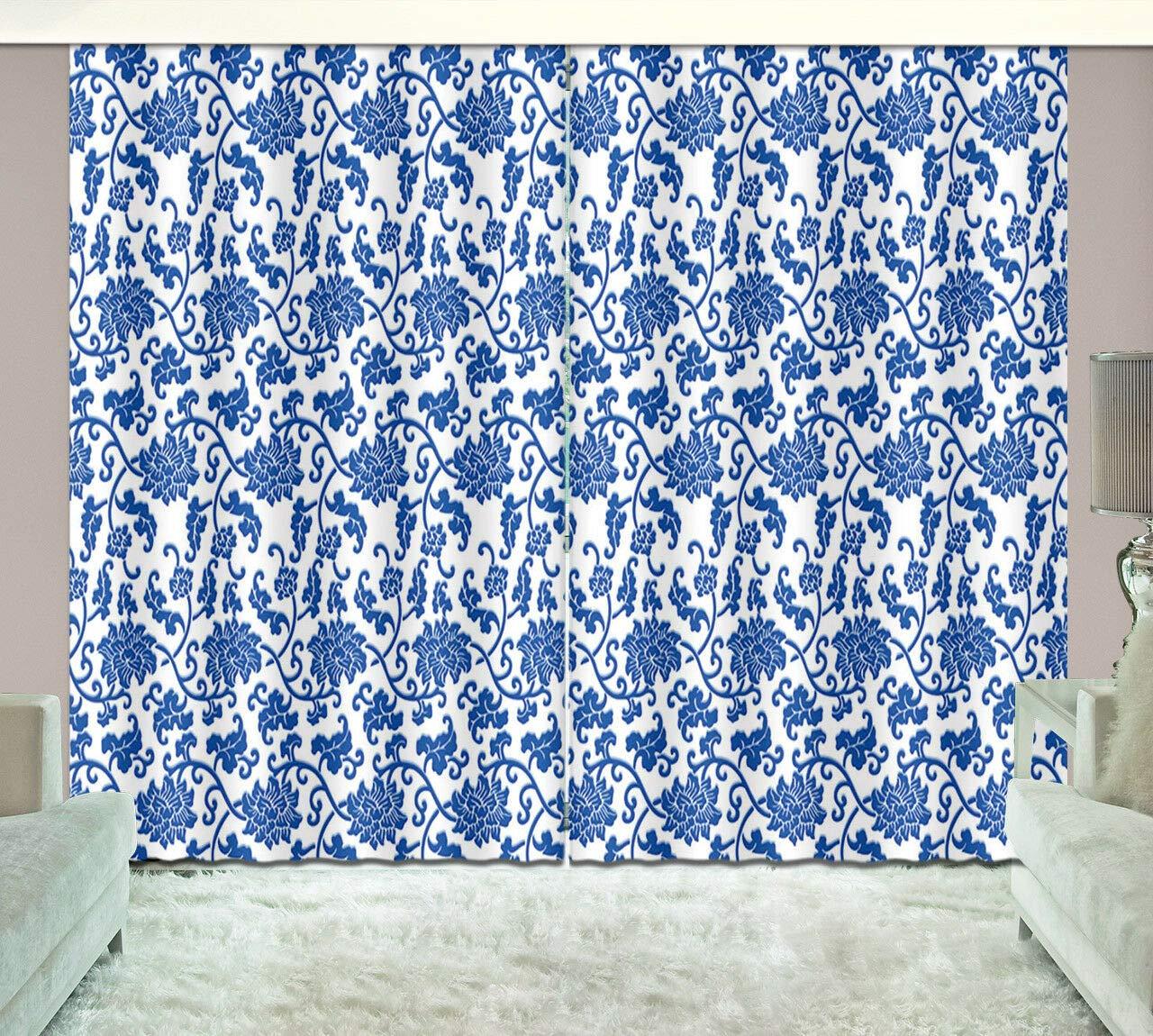 2 Panels China porcelain texture Window Fabric Curtain Drapes Darkening Blockout