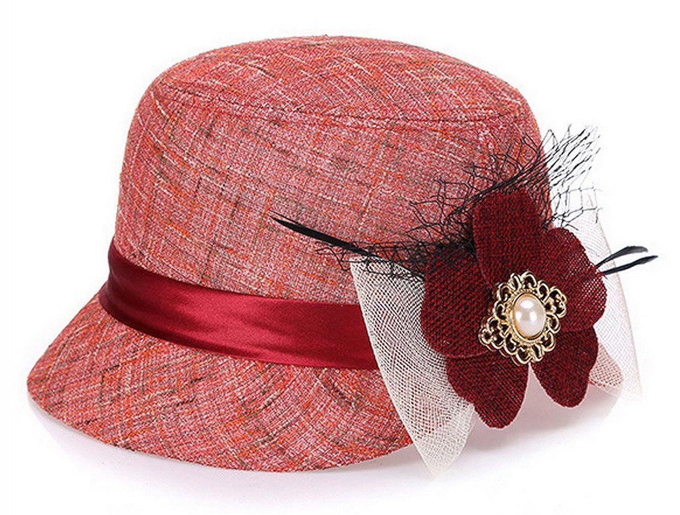 Lukis Women Flower Cloche Bowler Summer Sun Hat Church Tea Party