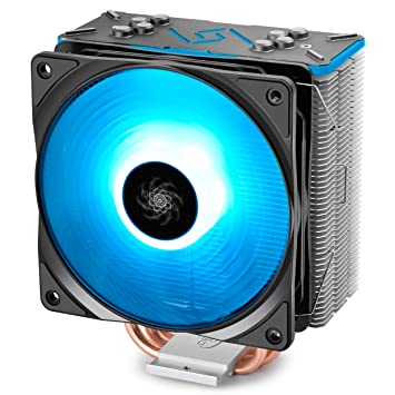 DEEPCOOL GAMMAXX GT BK, CPU Air Cooler, SYNC RGB Fan and RGB Black Top Cover, Cable or Motherboard Control Supported, 4 Heatpipes, 120mm RGB Fan, Universal Socket Solution CPU Fans at amazon