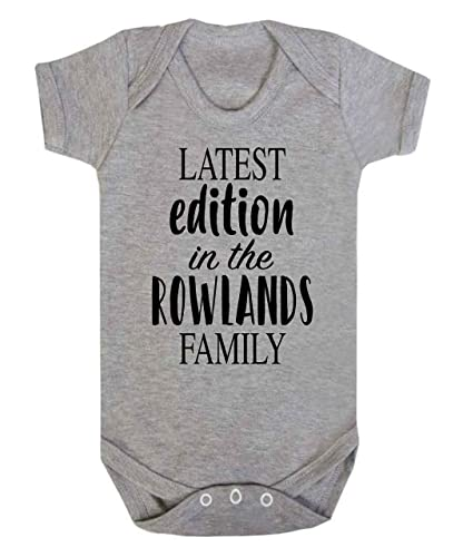 Personalised latest edition in the surname family baby vest personalised latest edition in the surname family baby vest babygrow new baby gifts newborn baby gifts negle