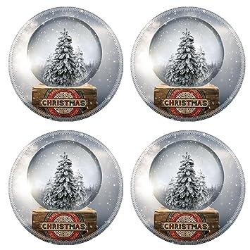 Vintage Christmas Snow Globes.Amazon Com Msd Round Coasters Non Slip Natural Rubber Desk