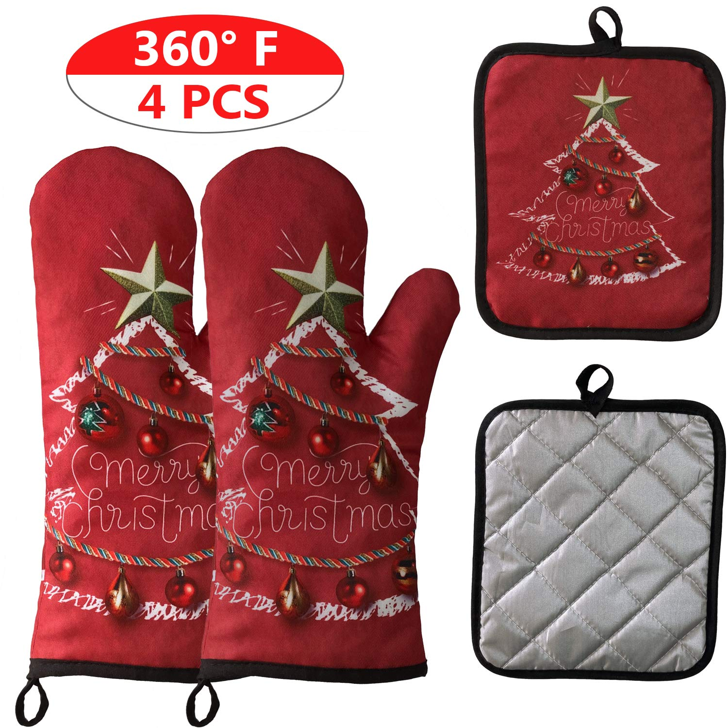 2 Oven Mitts and 2 Pot Holders Set, Soft Cotton Lining with Non-Slip Surface, Heat Resistant Kitchen Microwave Gloves for Baking Cooking Grilling BBQ (Christmas Red)