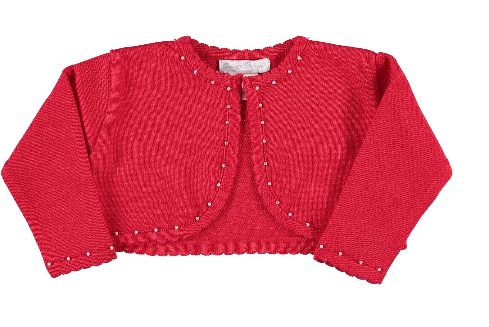 Carriage Boutique Girl's Holiday Red Bolero with Pearls (8Y) by Carriage Boutique