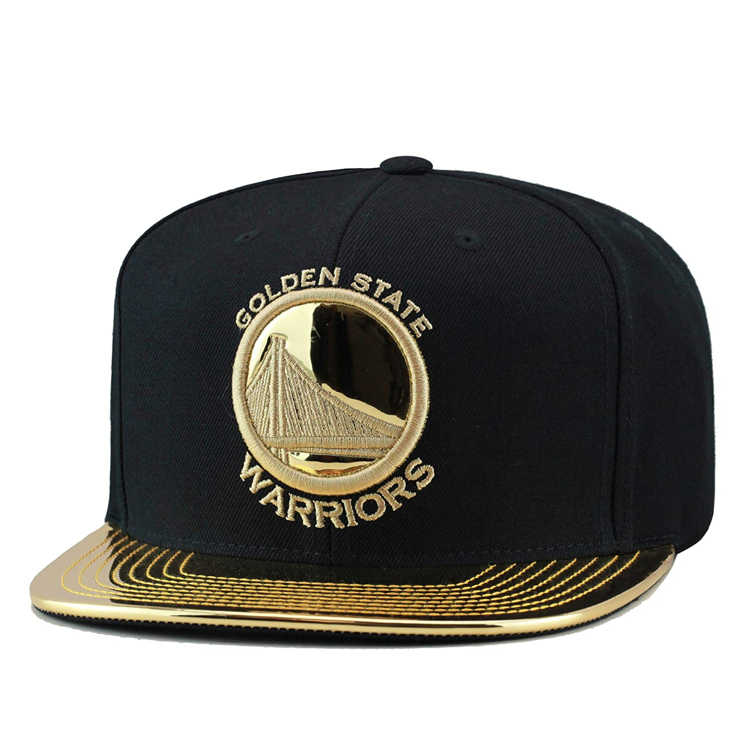 Mitchell   Ness Golden State Warriors Snapback Hat Black Metallic Gold Foil  at Amazon Men s Clothing store  85945dccacac