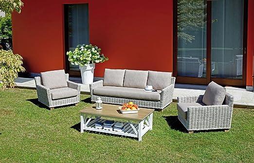Greenwood Muebles Jardín pes29 Muebles de Fibra Natural Juego Jaipur de Grey Kubu Blanqueado: Amazon.es: Jardín