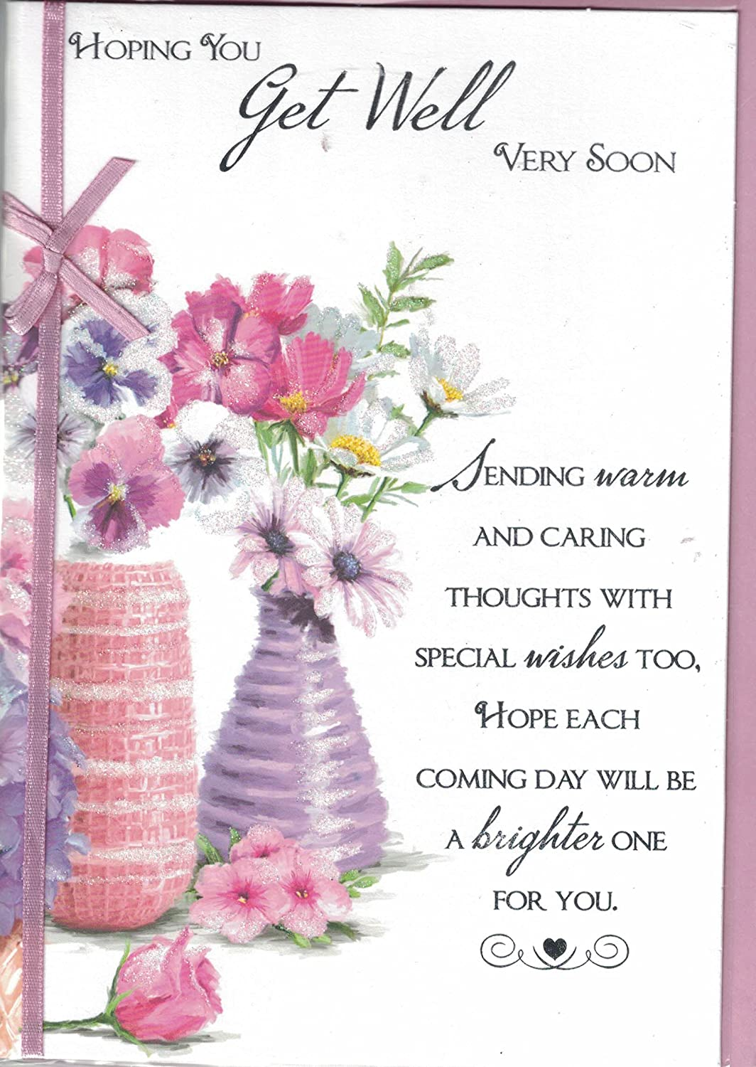 Prelude Get Well Soon Card ~ Hoping You Get Well Very Soon ~ Flower Vase Card Size 20cm x 14cm