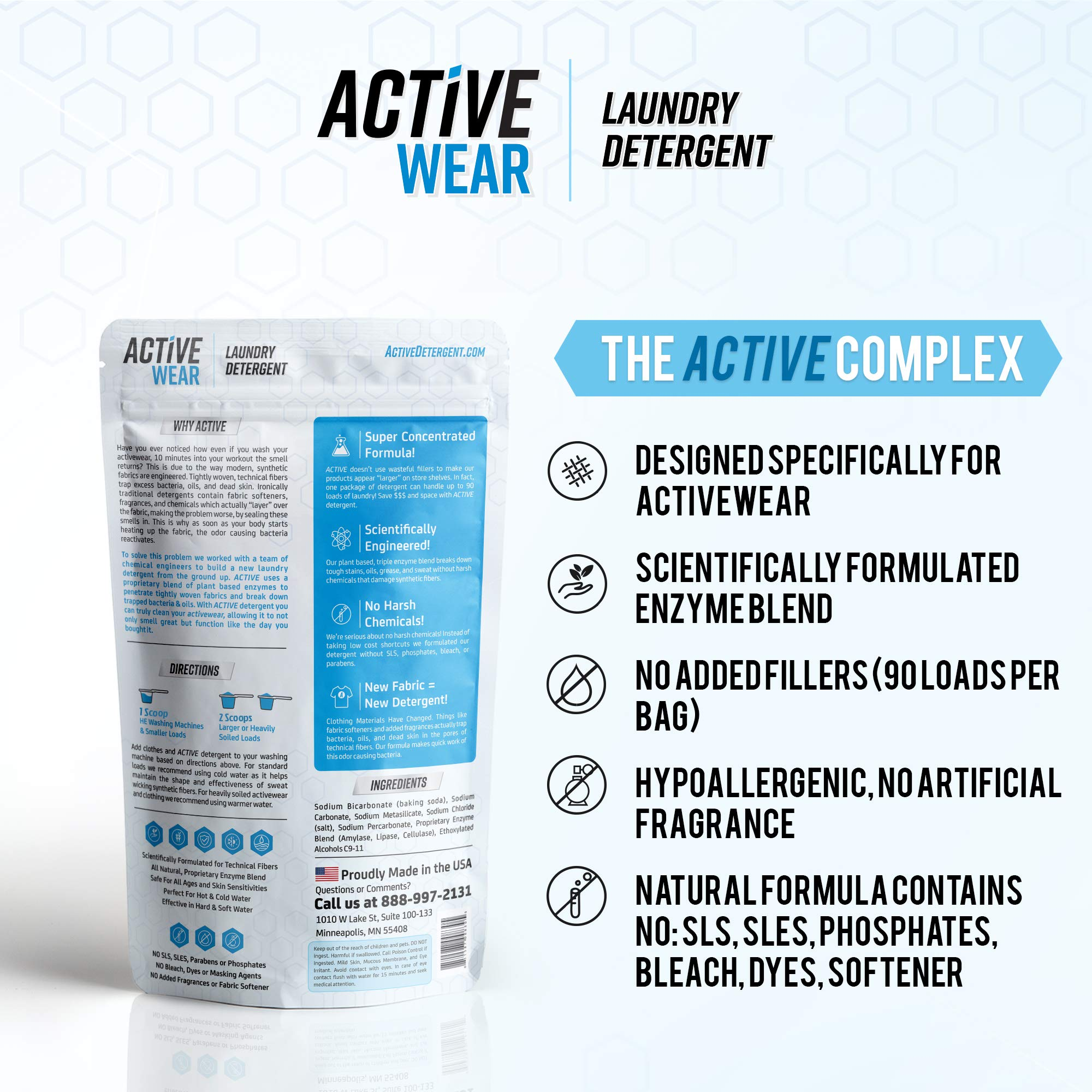 Active Wear Laundry Detergent - Formulated for Sweat and Workout Clothes - Natural Performance Sport-Wash Concentrate - Enzyme Booster Deodorizer - Powder Wash for Activewear Gym Apparel (90 Loads) by   ACTIVE Wear Detergent    (Image #2)