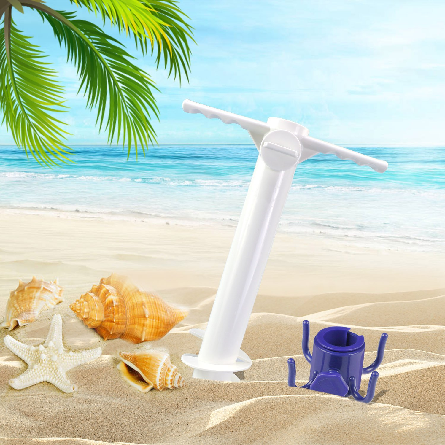 Homga Beach Umbrella Sand Anchor, Heavy Duty Umbrella Holder-Stands, Comes with Beach Umbrella Hanging Hook, One Size Fits All for Strong Winds