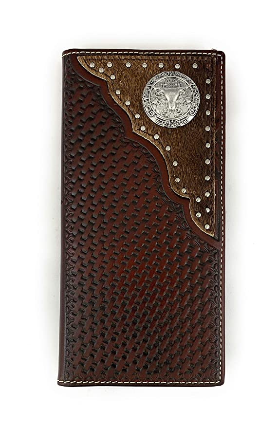 b1763383962a Men's Western Rodeo Genuine Leather Concho Bifold Long Wallet