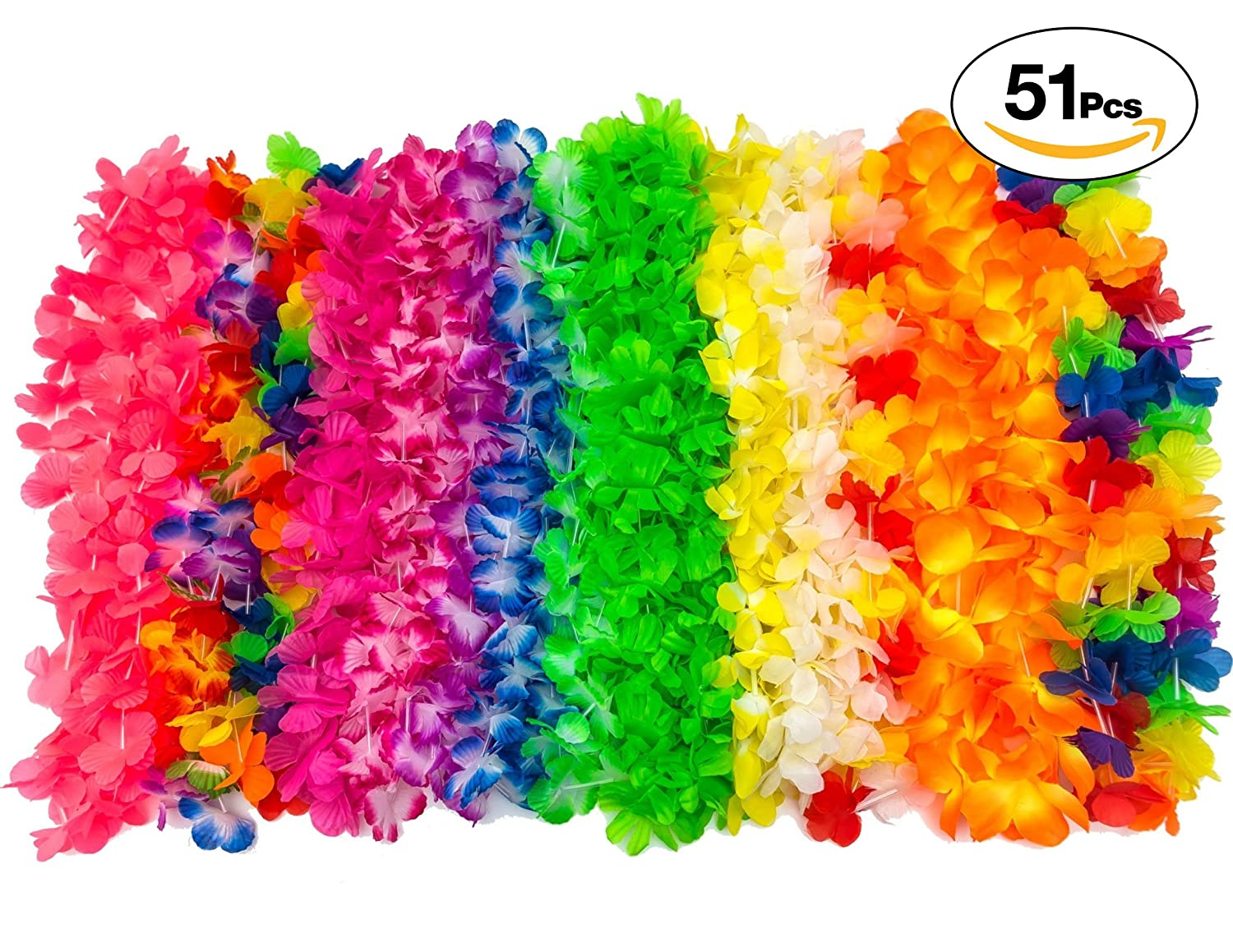 Amazon.com: Leis Bulk Tiki Party Supplies Flower Leis Hawaiian Lei ...