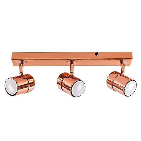 MiniSun – Plafón de techo con 3 focos – regleta de luz en cobre pulido.