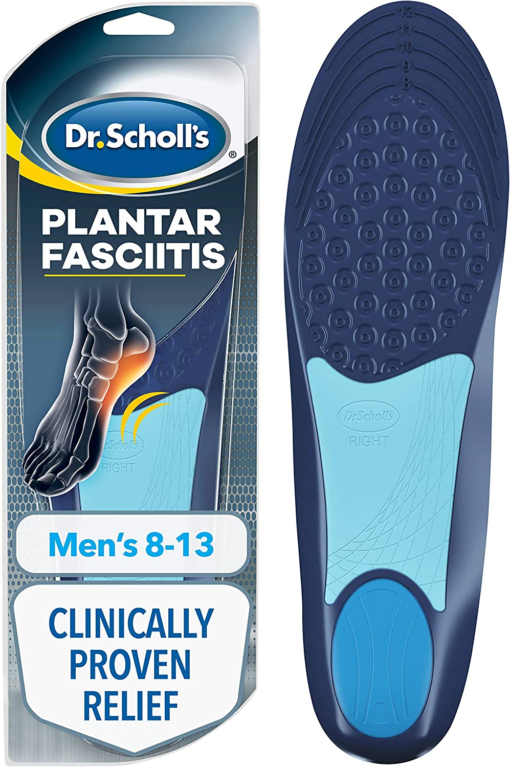 Dr. Scholl's PLANTAR FASCIITIS Pain Relief Orthotics // Clinically Proven Relief and Prevention of Plantar Fasciitis Pain (for Men's 8-13, also available for Women's 6-10): Health & Personal Care