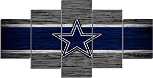 Dallas Cowboys NFL Foolball Art Canvas Posters Home Decor Wall Art Framework 5 Pieces Paintings for Living Room HD Prints Sports Pictures (S,No Framed)