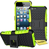 iPhone 5C Case, FoneExpert® Heavy Duty ShockProof Rugged Impact Armor Hybrid Kickstand Protective Bag Cover Case For Apple iPhone 5C + Screen Protector & Cloth (Green)