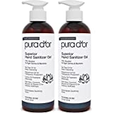 PURA D'OR Hand Sanitizer Gel LEMONGRASS Scent 2 PACK-16oz each = 32oz Total. 70% Alcohol Kills 99% Germs w/Aloe Vera, Tea Tre