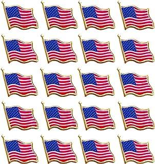 Perfect Bassion 20 PCS American Flag Lapel Pin United States USA Waving Flag Pins