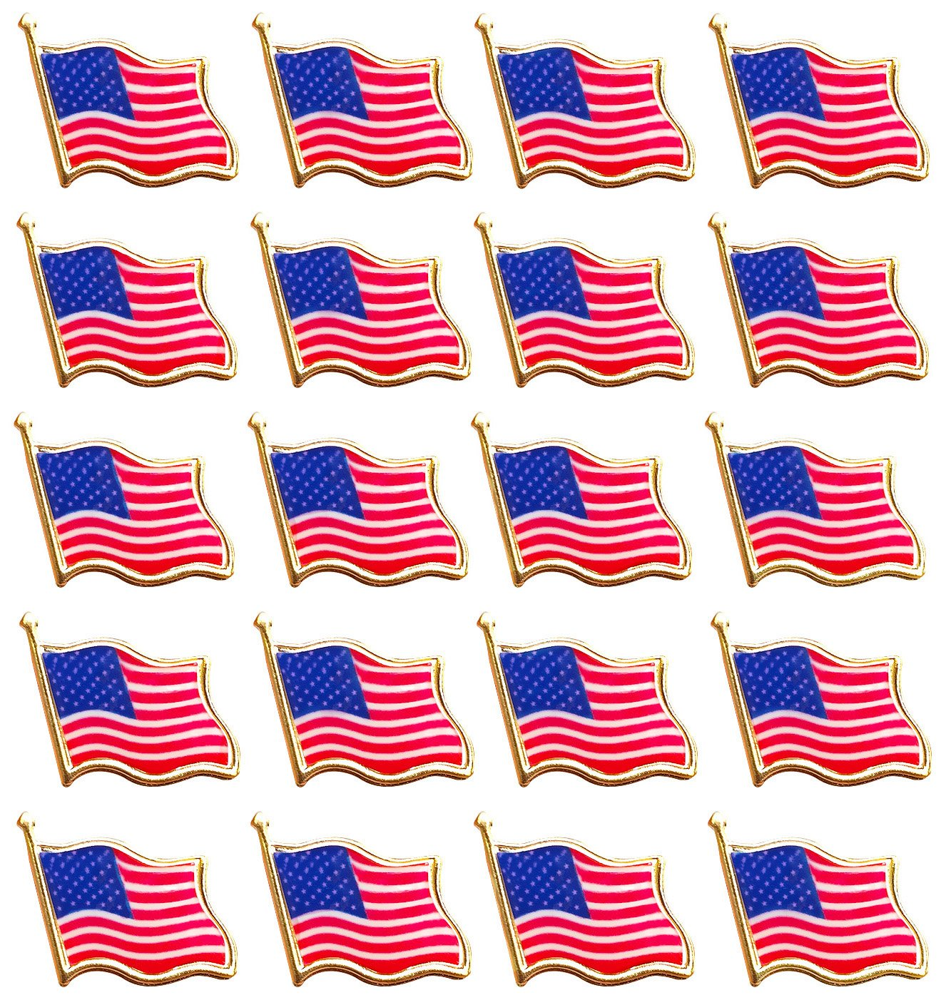Bassion 20 PCS American Flag Lapel Pin United States USA Waving Flag Pins PRO-048-1