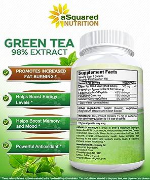 Amazon.com: Extracto de té verde suplemento con EGCG – 180 ...