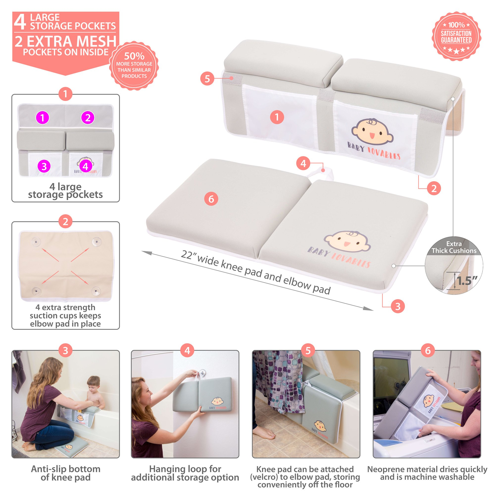 Bath Kneeler with Elbow pad Rest Set- Padded Knee mat for tub Bathing and Bathroom time. Bathtub Kneeling Waterproof Cushion mats for Infant or Baby Toy Accessories. Bathtime Knee Saver. Shower Gift. by BABY LOVABLES (Image #1)