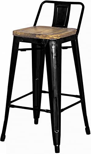 Metropolis Metal Low Back Counter Stool 26 Wood Seat,Indoor Outdoor Ready,Black,Set of 4