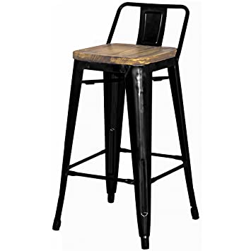 Cool Metropolis Metal Low Back Counter Stool 26 Wood Seat Indoor Outdoor Ready Black Set Of 4 Theyellowbook Wood Chair Design Ideas Theyellowbookinfo