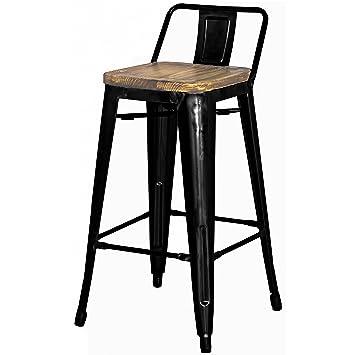 Fine Metropolis Metal Low Back Counter Stool 26 Wood Seat Indoor Outdoor Ready Black Set Of 4 Dailytribune Chair Design For Home Dailytribuneorg
