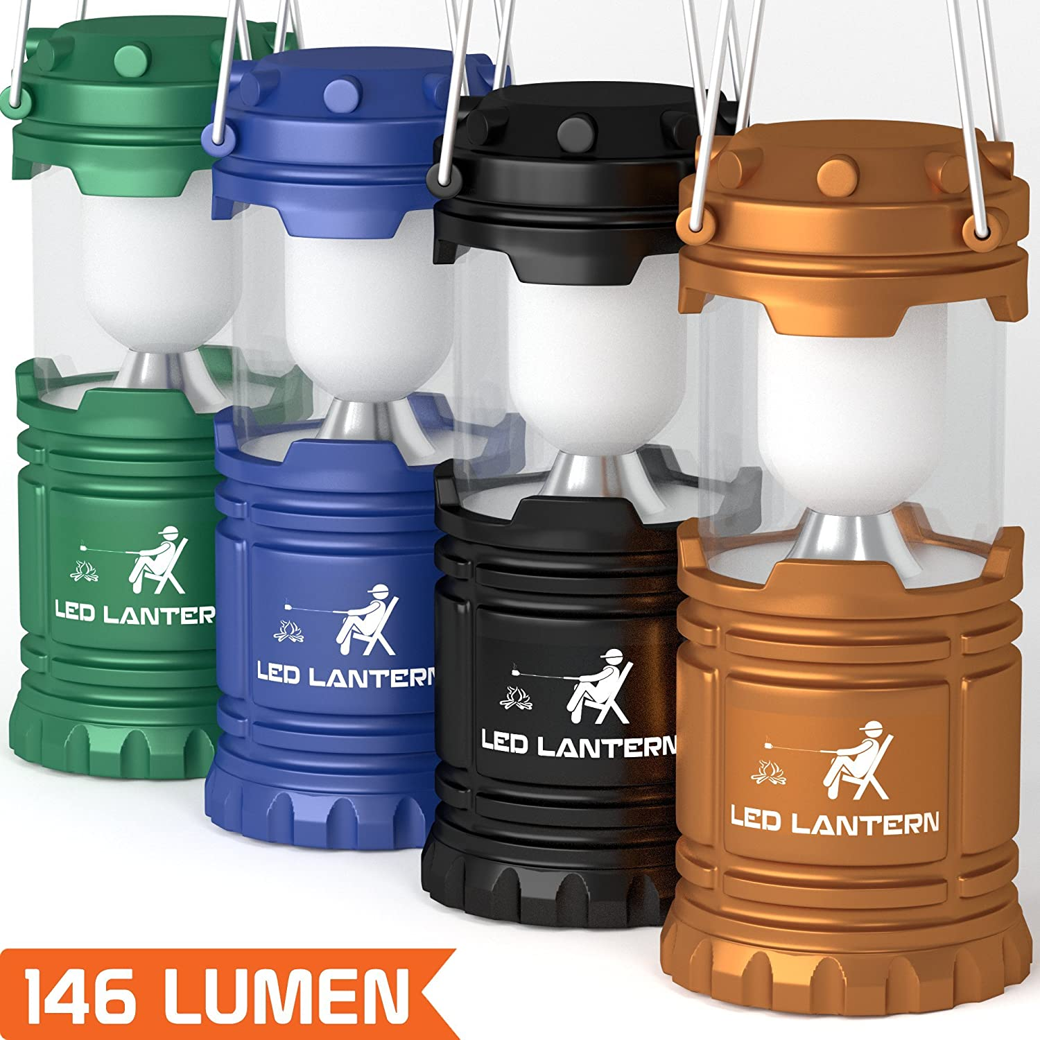 LED Camping Lantern Flashlights - Hurricane Emergency Tent Light - Backpacking, Hiking, Fishing, & Outdoor Lighting Bug Out Bag Camping Equipment | Portable, Compact, & Water Resistant Gift