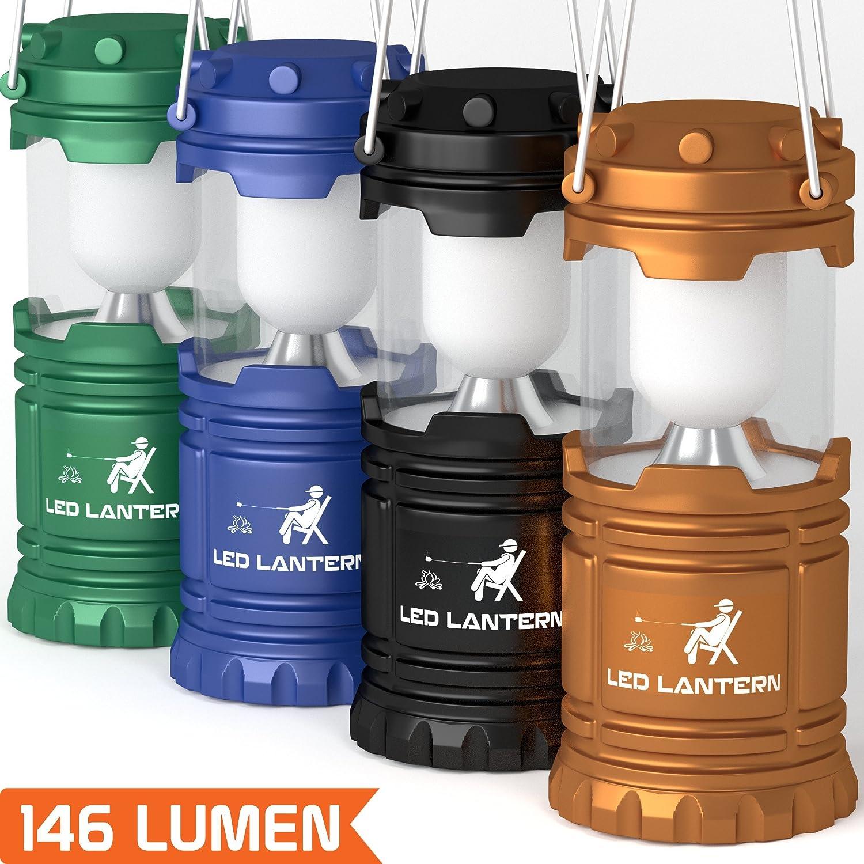 MalloMe LED Camping Lantern Flashlights 4 Pack & 2 Pack- Super Bright Lumen Portable Outdoor Emergency Lamp Lights