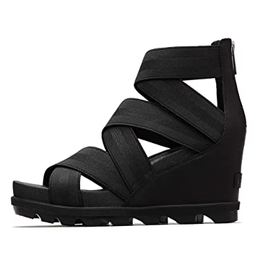 e396528b1 SOREL - Women's Joanie II Strap Leather Open Toe Wedge Sandals, Black, ...