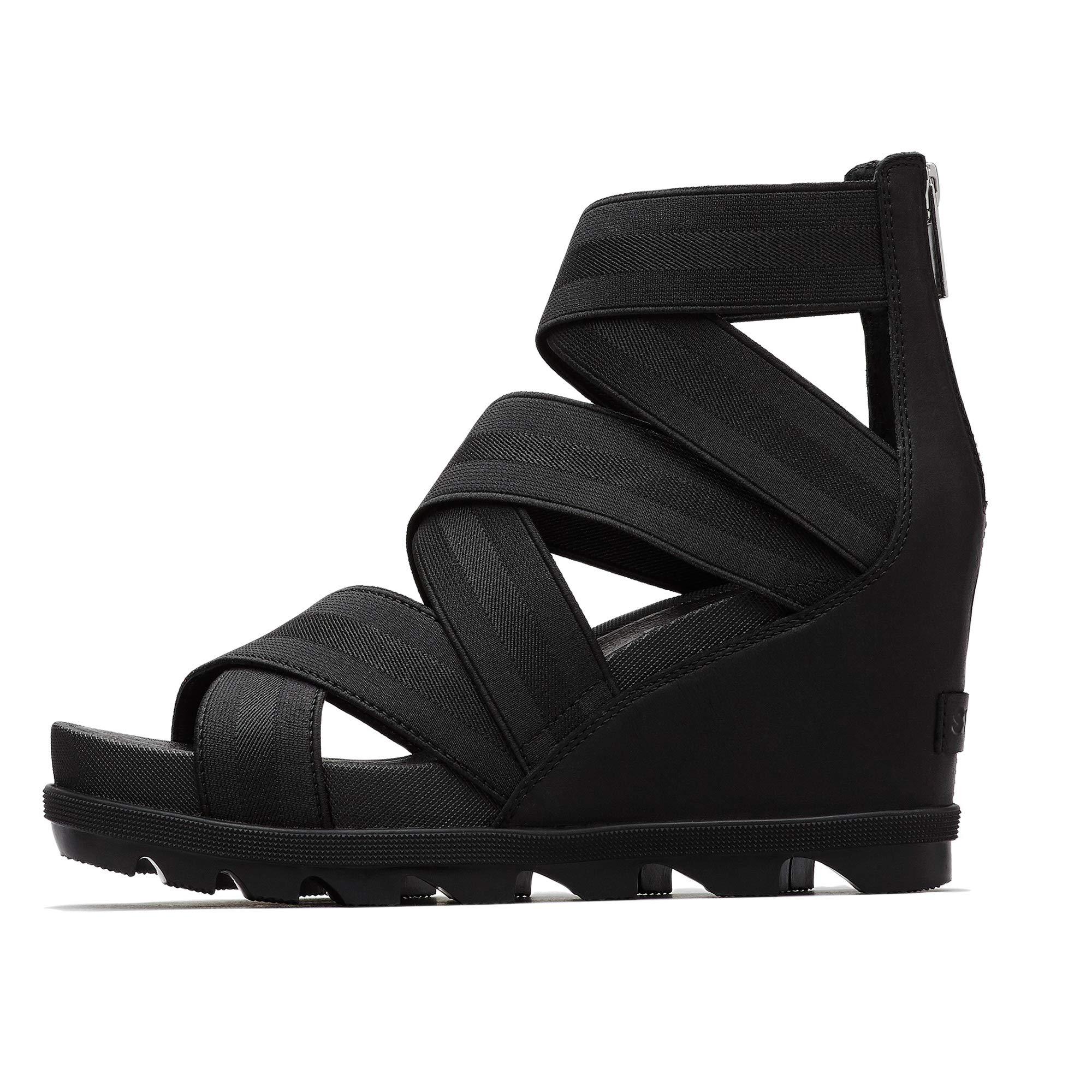 SOREL - Women's Joanie II Strap Leather Open Toe Wedge Sandals, Black, 7.5 M US