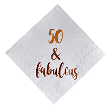 f98dca8e901b4 MAGJUCHE 50 and Fabulous Cocktail Napkins, 50-Pack 3ply White Rose Gold 50th  Birthday