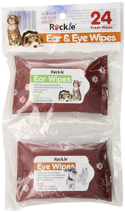 Pyara Paws Rockie - Juego de toallitas para orejas y ojos (24 unidades)