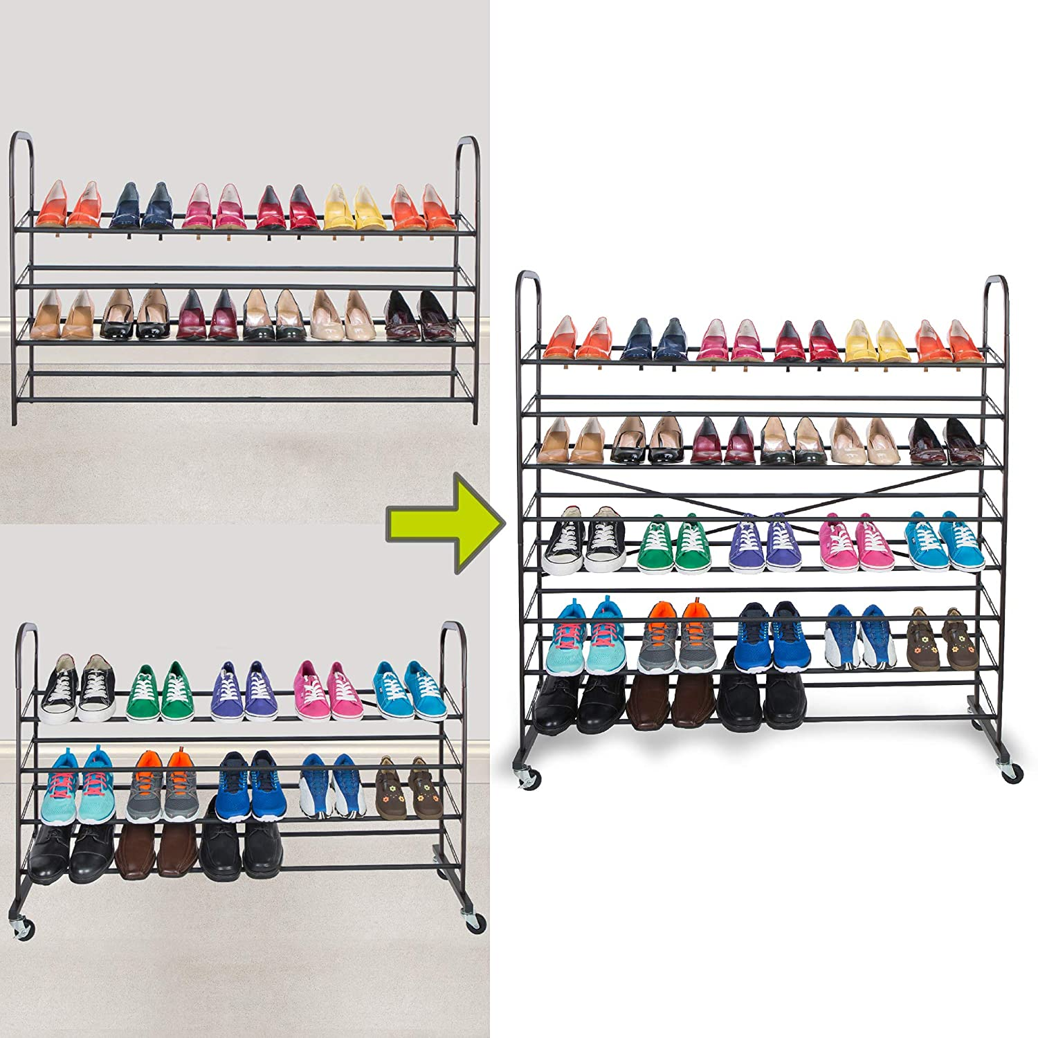 Smart Design 8-Tier Steel Metal Shoe Rack Tower w/Rolling Wheels - Holds 48 Pairs of Shoes - Easy Assembly & Adjustable - Entryway, Closet, Garage - Home Organization (44 x 50.75 Inch) [Bronze]
