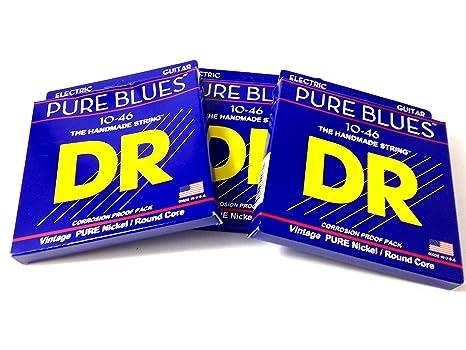 Dr cuerdas para guitarra eléctrica, 3 unidades Pure Blues Vintage Pure níquel 10 – 46