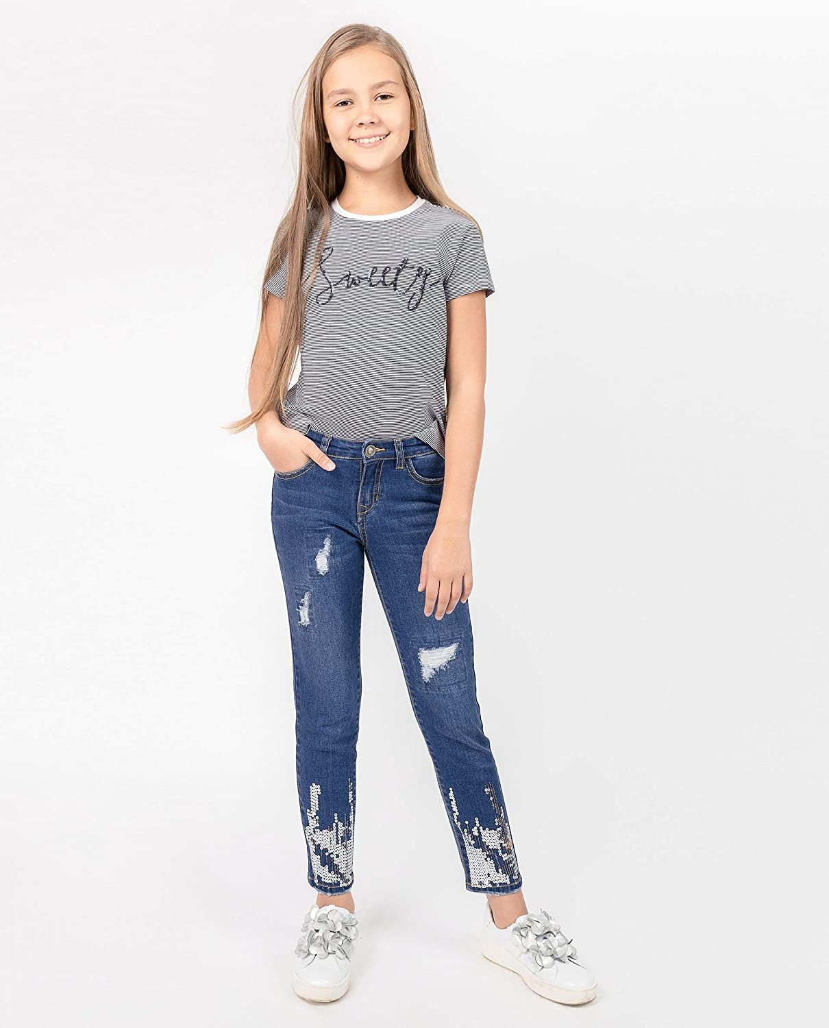 Casual Sequins Slim Fit GULLIVER Teen Girl Denim Jeans Colour Blue Stone Wash Distressed Ripped Denim Zip Button Pockets for 8-13 Years Cotton