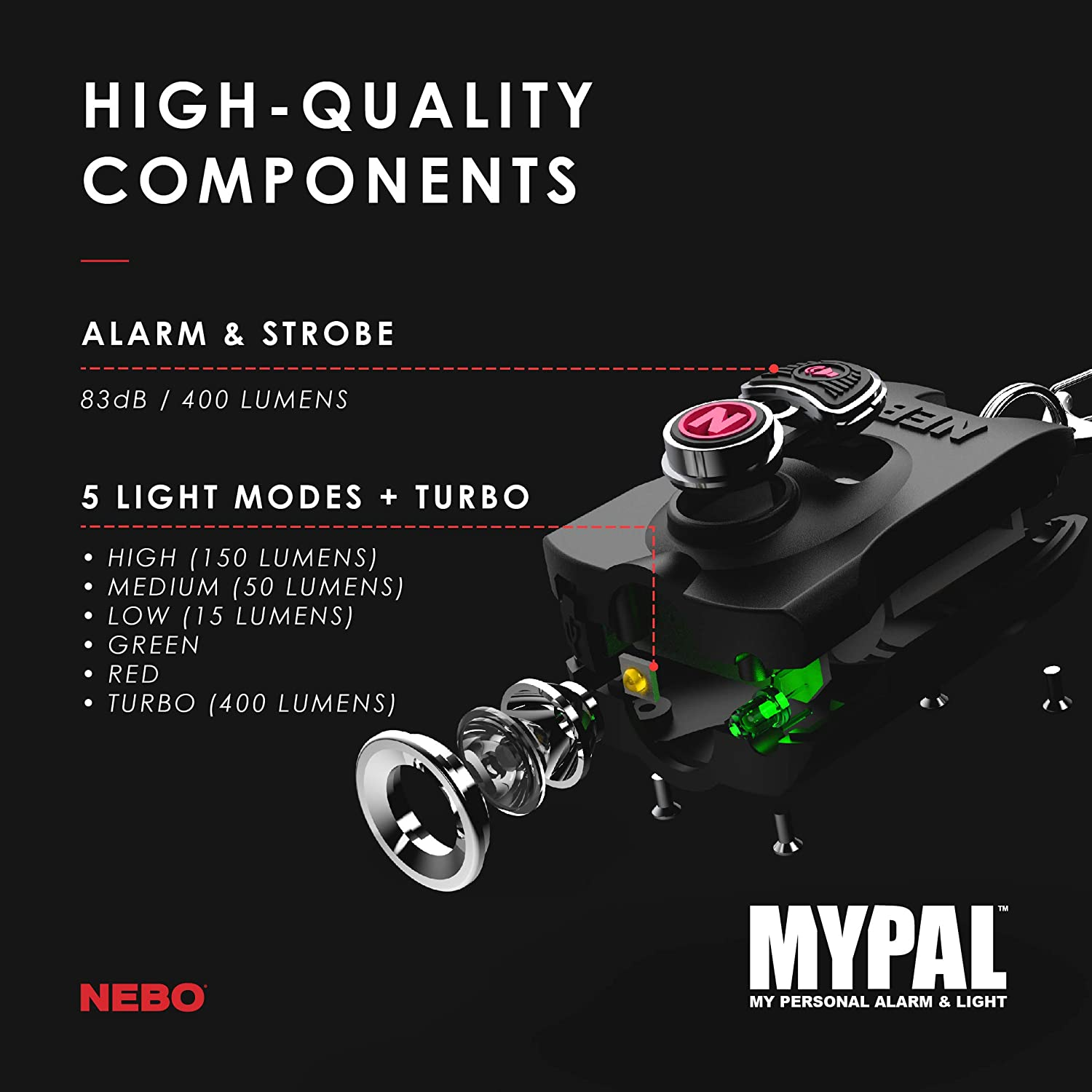 400 Lumen Key Ring Flash Light and 83dB Emergency Alarm; 6 Unique Light Modes Including Alarm and Strobe Mode; Rechargeable; Water and Impact Resistant NEBO MyPal Personal Alarm Flashlight 6909PNK