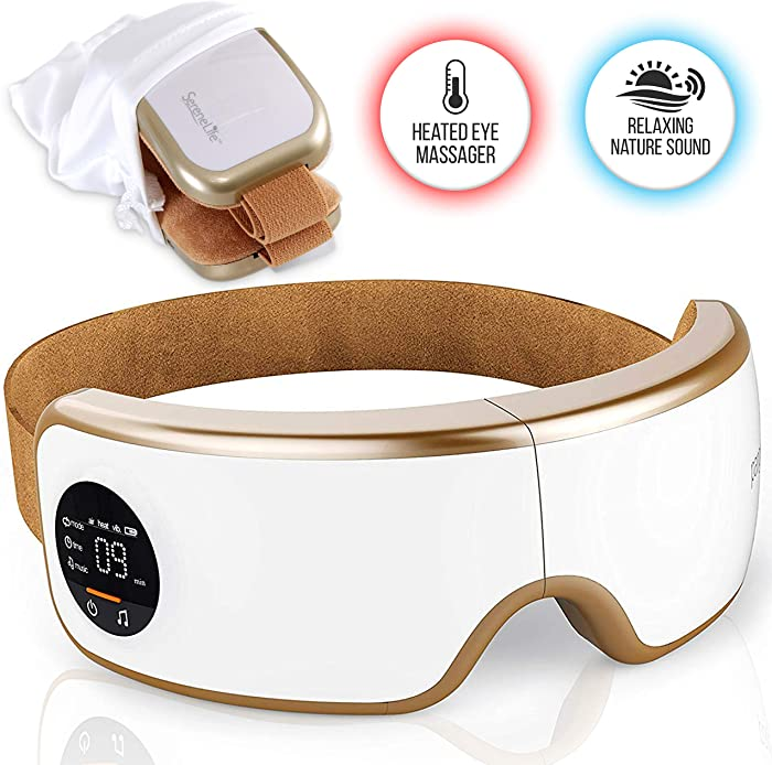Stress Therapy Electric Eye Massager - Wireless Digital Mask Machine w/ Heat Compress, Built-in Battery & Adjustable Elastic Band - Air Pressure Vibration Massage for Eye Relief - Serenelife SLEYMSG40