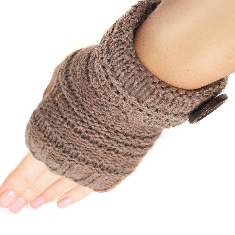 Spinningdaisy Knit Button Accent Fingerless Glove Rust Color