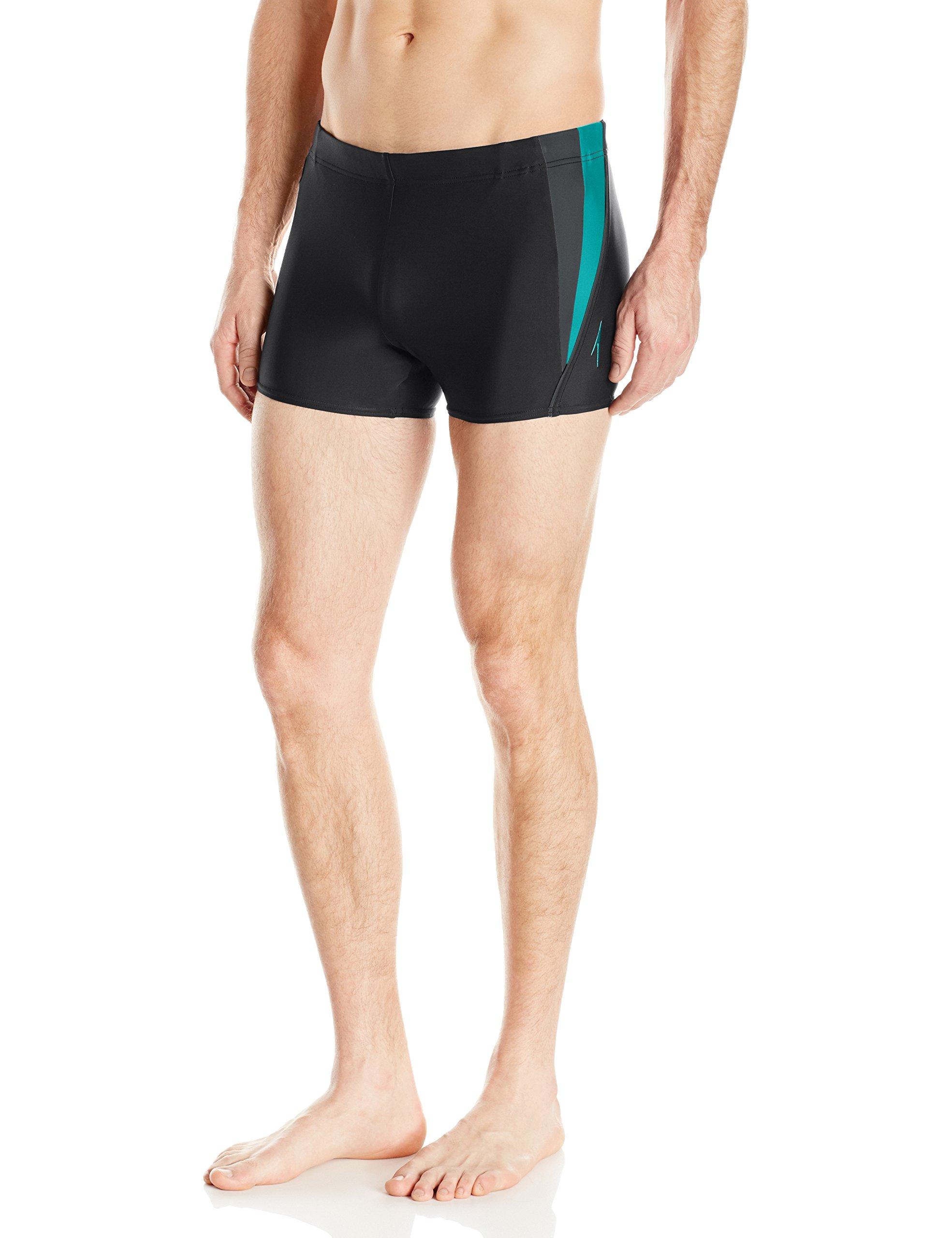 Speedo Men's Fitness Splice powerflex eco Square Leg Swimsuit, Black/Green, Small by Speedo