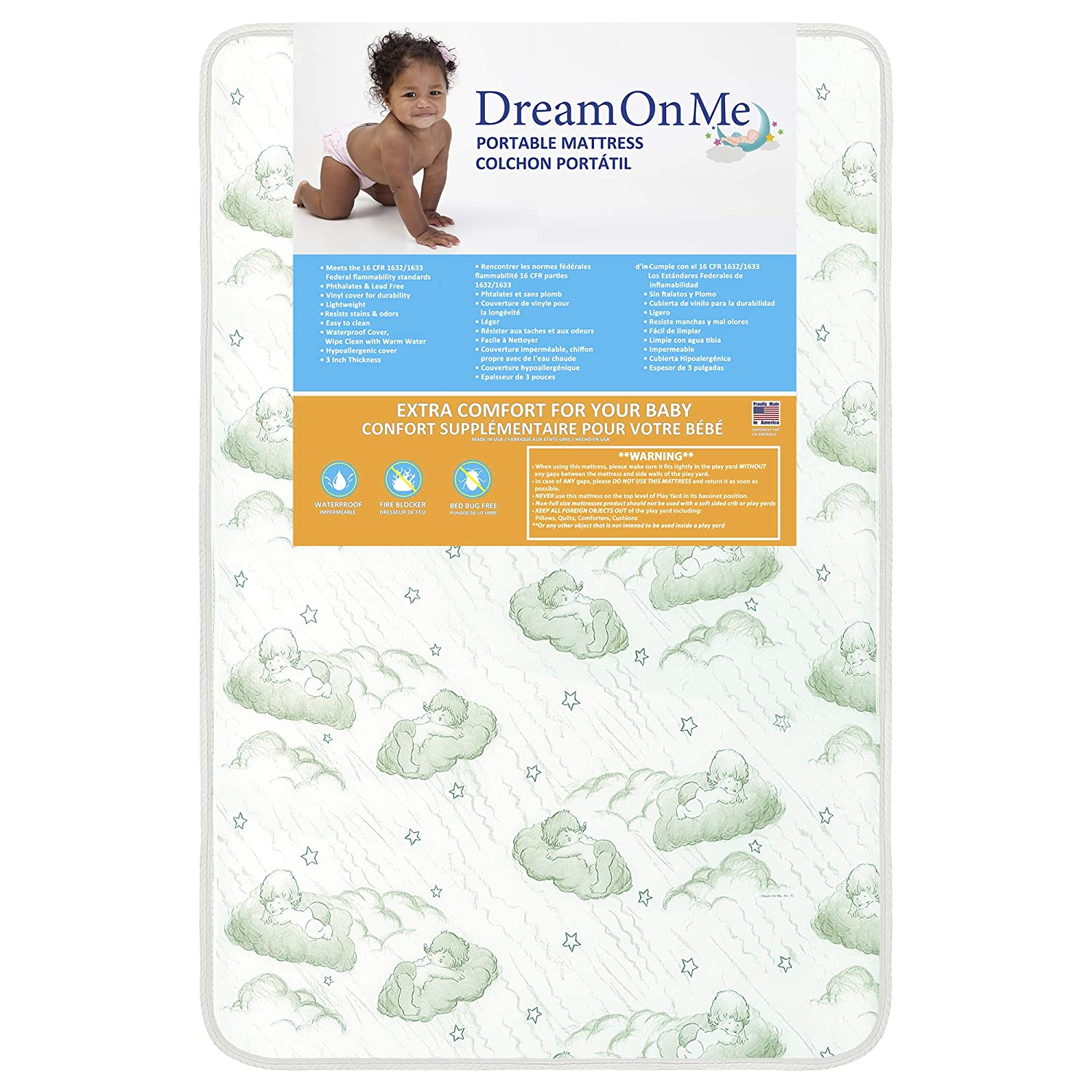 Amazon.com : Dream On Me Baby Trand Nursery Center Firm Mattress with Square Corne : Portable Crib Mattresses : Baby