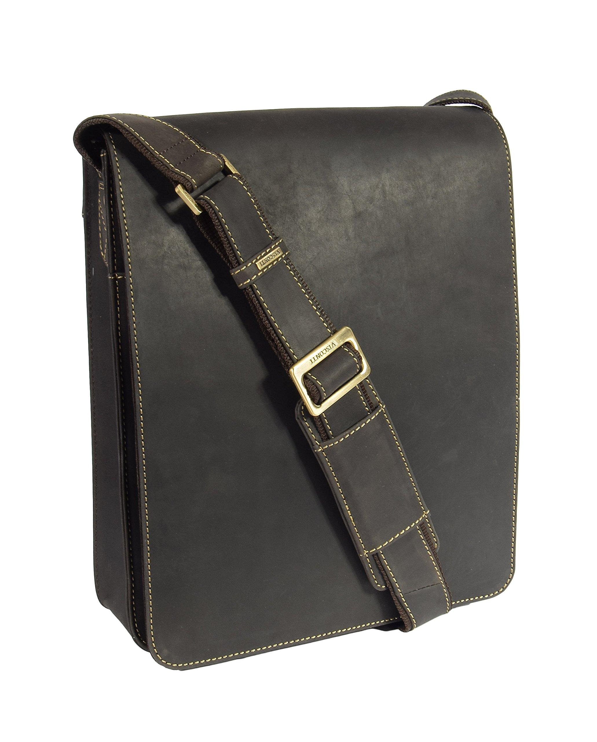 Mens Real Leather Messenger Bag Brown Vintage Shoulder Bag iPad Case Los Angeles