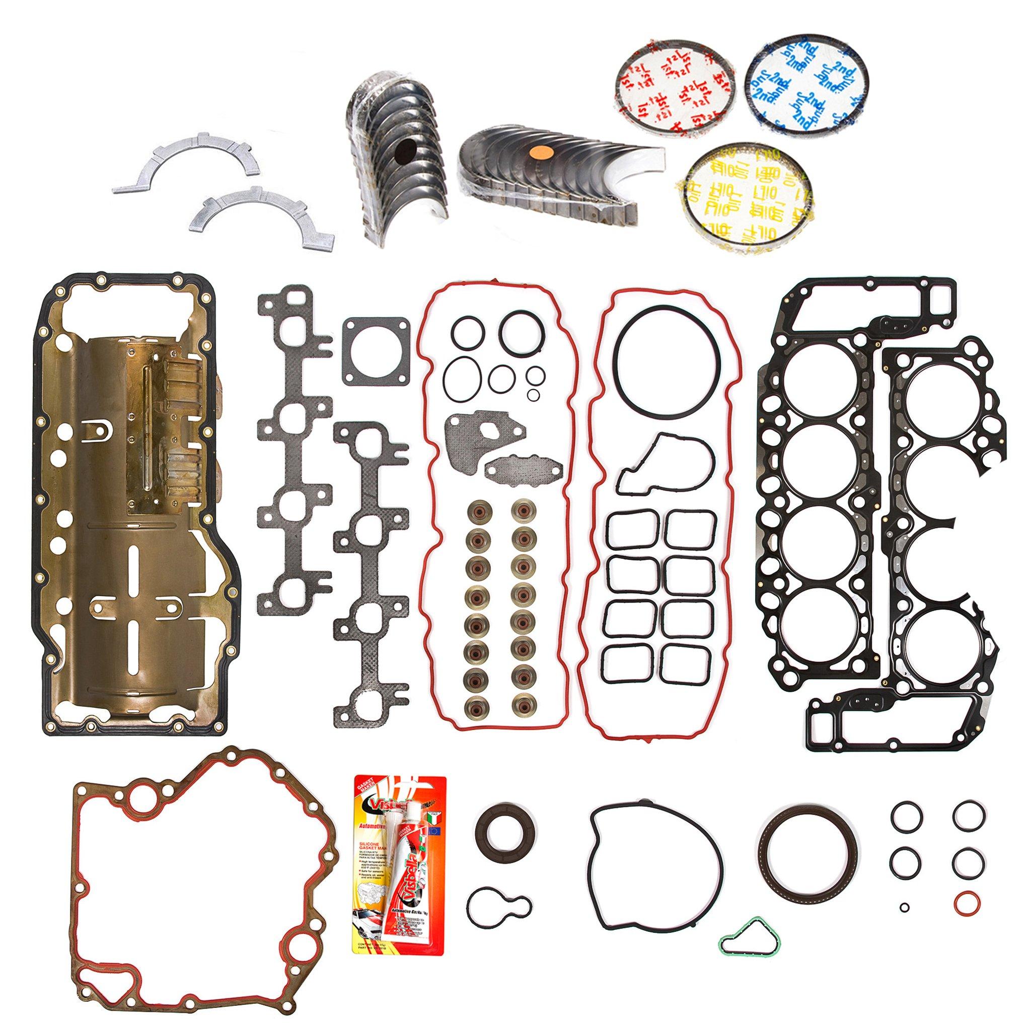 Domestic Gaskets Engine Rering Kit FSBRR8-30400EVE 99-03 Dodge Dakota Durango Jeep 4.7 SOHC Full Gasket Set, 0.25mm / 0.010'' Oversize Main Rod Bearings, 0.50mm / 0.020'' Oversize Piston Rings