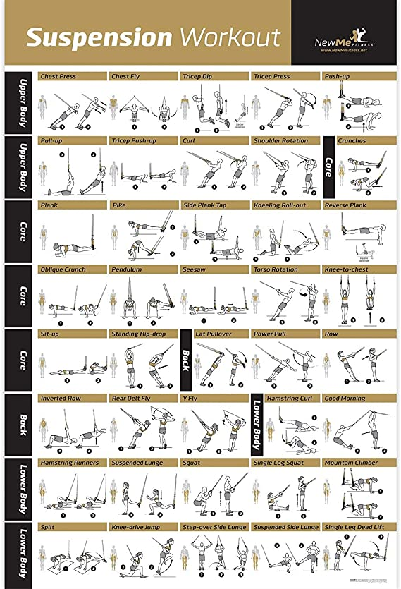 NewMe Laminated Poster with Instructions for Suspension Exercises. 500mm x 700mm