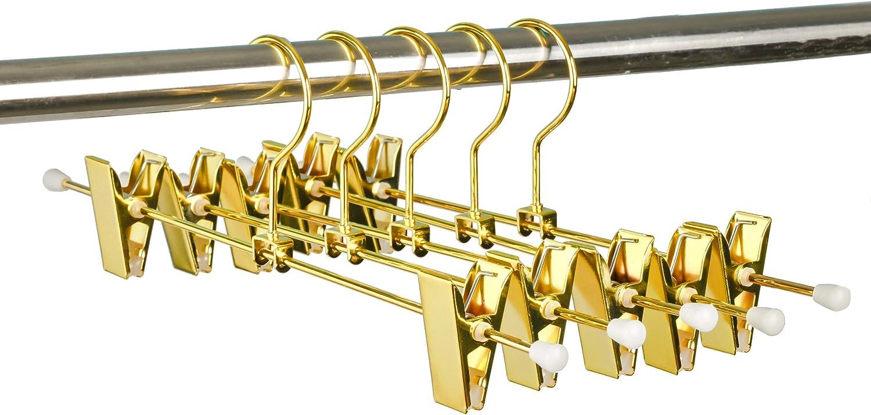 goldfarben 30,5 cm 10 St/ück Amber Home Kleiderb/ügel f/ür Hosen und Rock mit verstellbaren Clips und Haken