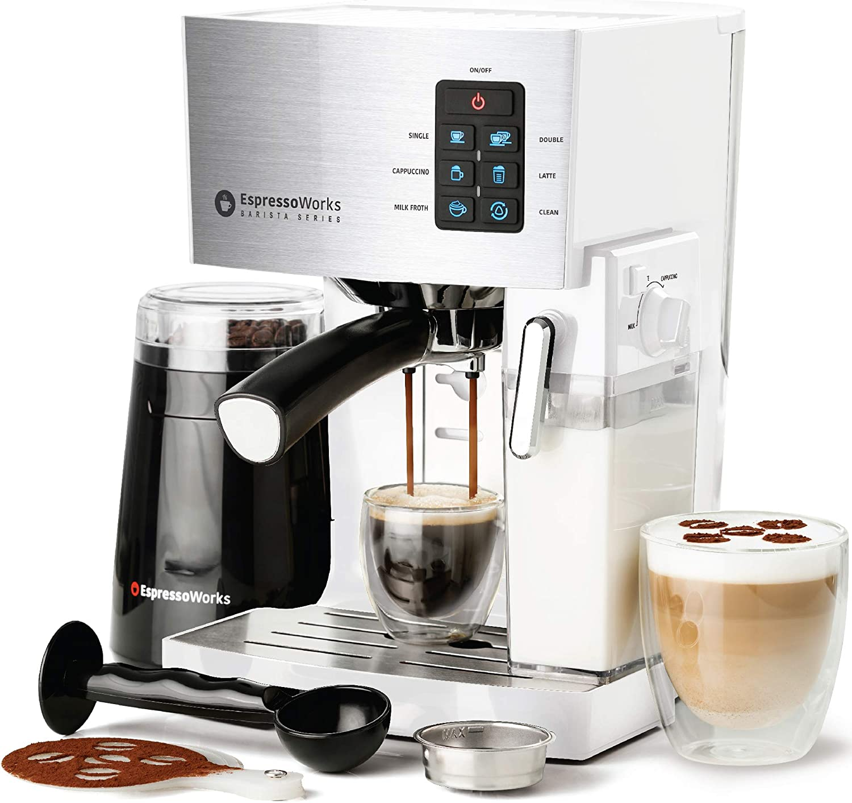 Espresso Machine, Latte & Cappuccino Maker- 19 Bar Pump, 10 pc All-In-One Espresso Maker with Milk Steamer (Incl: Coffee Bean Grinder, 2 Cappuccino & 2 Espresso Cups, Tamper, Portafilter w/ Single & Double Shot Filter Baskets), 1250W, (White)