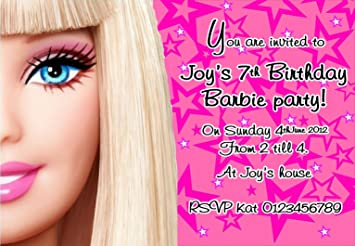 Personalised Barbie Birthday Party Invitations X10