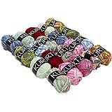 KURTZY - Ensemble de 20 Pelotes de Laine pour Crochet et Tricot par Kurtzy - Assortiment de Laine en Acrylique Douce Colorée - Lot Laine Épaisse Multicolore pour Pulls en Laine, Gilets, Couvertures et Plus