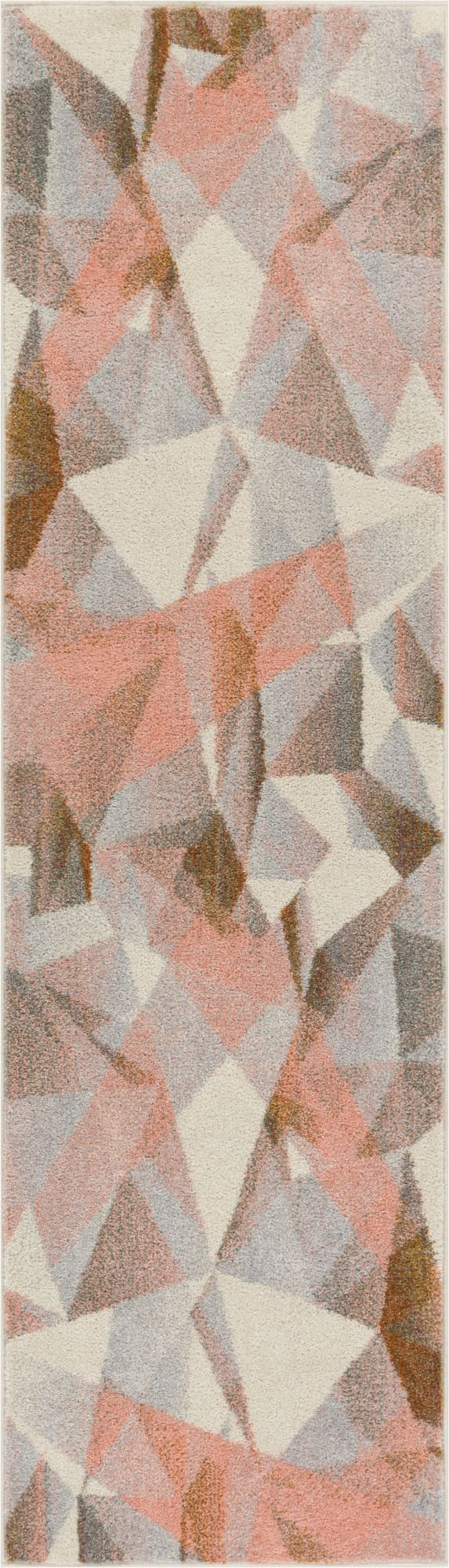 """Well Woven Barra Blush Pink Multi-Color Modern Geometric Triangle Pattern Abstract 2x7 (2'3"""" x 7'3"""" Runner) Area Rug Contemporary Thick Soft Plush - Thick, plush 0.4"""" pile height. 100% polypropylene power loomed in Turkey. Stain resistant and fade resistant. 100% jute backing is safe for wood floors. Extremely durable and very easy to clean, made to last for years. Abstract, geometric pattern of interlocting triangles with subtle shading and soft, trendy colors. Size: 2'3"""" x 7'3"""" Runner - runner-rugs, entryway-furniture-decor, entryway-laundry-room - 81p%2B6gjfVGL -"""