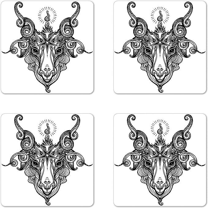 Pentagram Wood Drink Coasters set of 4